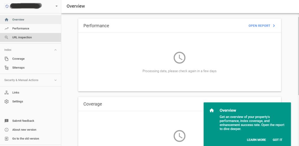 Google Webmaster Tool Dashboard 2019