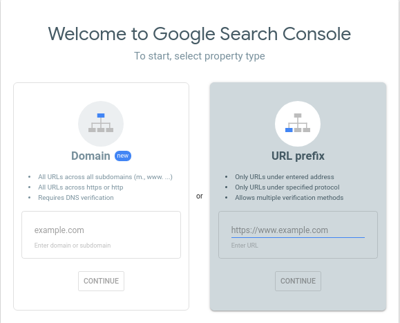 Google search console- select a property type